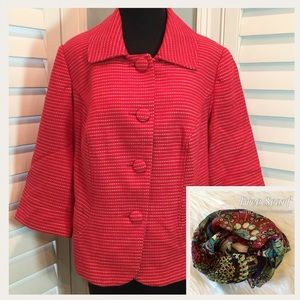 Lane Bryant Red Jacket With Scarf, 14, Like New